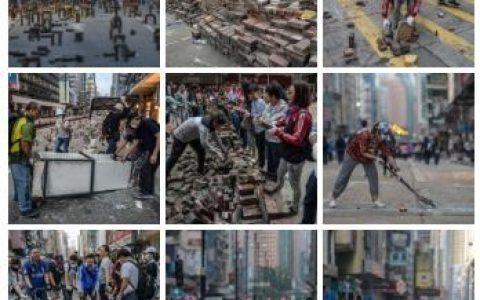 香港市民清晨自发清理路障 香港现在是什么原因?