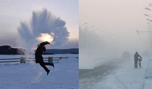 漠河-44.3℃冷到冒白烟 泼水就能成冰