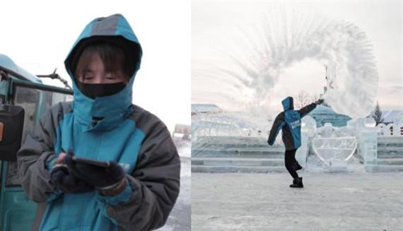 漠河95后女快递员极寒下工作 每天要走4万步
